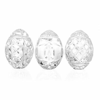 "Waterford Crystal Collectibles Set of 3 2.5"" Mixed Pattern Eggs"