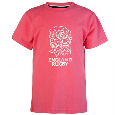 England Rugby Girls Short Sleeved Crew Neck T-Shirt Pink Top AW1358G X10A