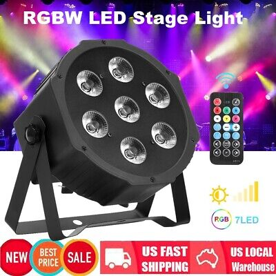 7 RGBW LED Light PAR 7 CH DMX Indoor DJ Party Club Stage Show Lighting w/ Remote
