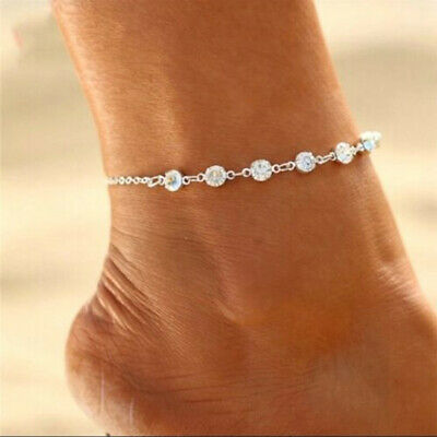 Anklet Vintage Crystal Anklet Color Silver or Gold Chain Jewelry C LF-