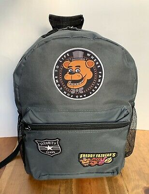 Five Nights at Freddy's Backpack 16 Inch Grey Black Straps
