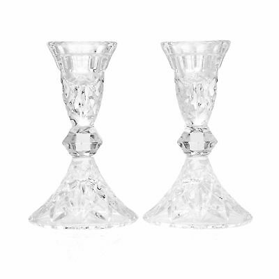 """Waterford Crystal Romantic Set of 2 5"""" Footed Taper Candle Holders"""