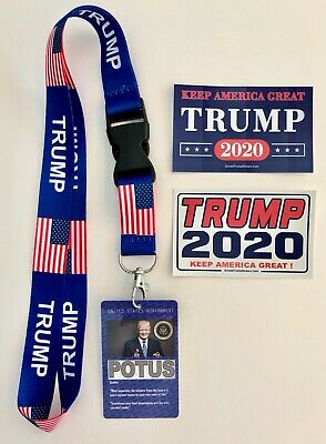 President Trump ...White House Pass with Lanyard + 2 Decals