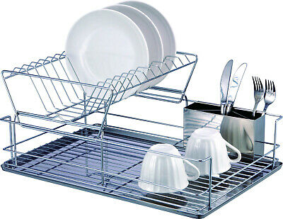 Dish Drying Rack, 2-Tier Dish Rack with Utensil Holder, Dish Drainer for Kitchen