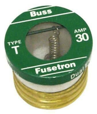NEW IN BOX Cooper 30A Type T Plug Fuse  Time Delay Fusetron  Boxed T30 T-30