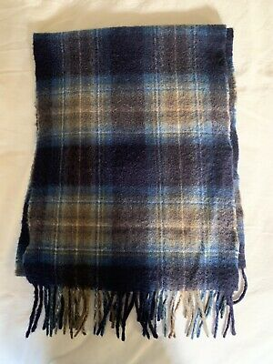 Coach 83137 Men/'s Variegated Ticking Striped Scarf Lambs Wool Fringed Wrap