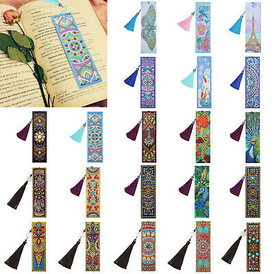 DIY Special Shape Diamond Painting Leather Bookmark Tassel Book Marks Xmas Gifts