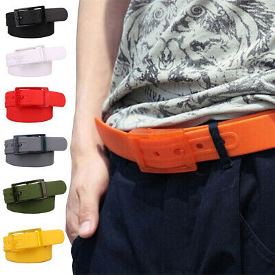 Candy Color Kids Silicone Scrub Leather Belt Plastic Buckle Waistband Decoration