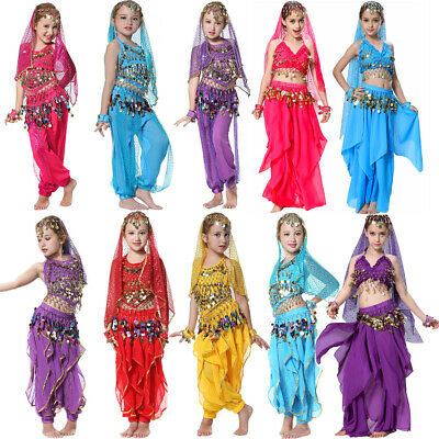 Girls Belly Dance Costume Kids Bollywood Dancer Outfit Birthday Genie Princess