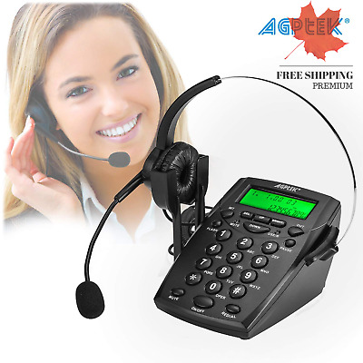 AGPtek® Noise Cancelling Call Center Dial Pad Headset Telephone System with ...