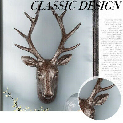 Wall Mounted Stag Head Antlers Deer Wall Plaque Sculpture Figure 43cm Decoration