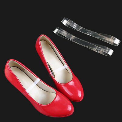 Women Holding Loose High Heel Shoes Detachable Transparent Band TPU Shoe Straps