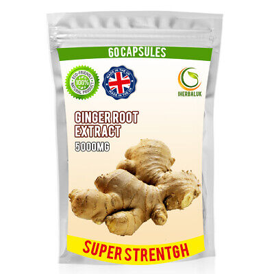Ginger Root Extract 5000MG Super Strength Nausea Travel Sickness Digestive Pills