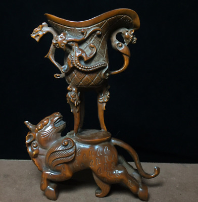 "5.11"" Old Chinese Boxwood hand-carved Dragon cup beast statue"