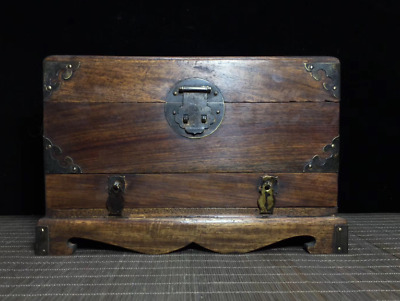 "10.24""Old China Huanghuali Wood Noble Collection Lotus fish Handle Chest Box Bin"