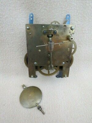 Vintage Striking Clock Movement, Hands, And Pendulum