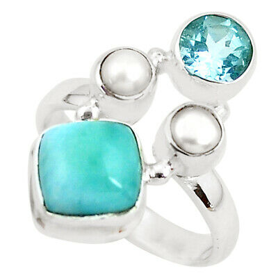 Sterling Silver Ring Cushion Square Larimar and Synthetic White Topaz 6461