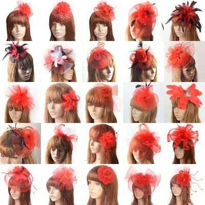 Women Lady Red Fascinators Flower Lace Veil Hat Hair Clip Xmas Party Accessories