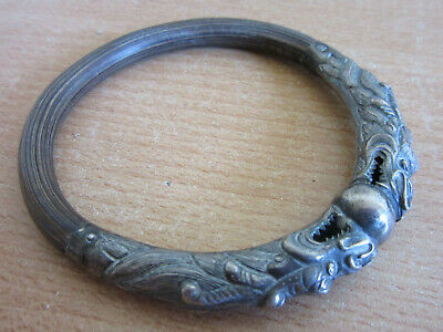 Antique Chinese Silver / Bamboo ornately carved Dragon & Ball Cuff Bracelet #2