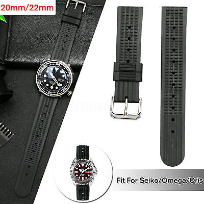 20mm/22mm Rubber Black For Waffle Divers Watch Strap