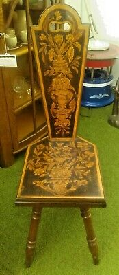 C19th Mahogany & Walnut with Poker Work Decoration Hall Chair on Turned Legs