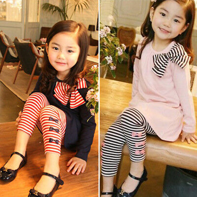 2PCS Kids Baby Girl Bownot Long Tops + Striped Trousers Pants Winter Outfits Set