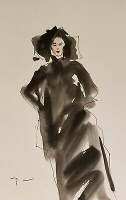 """JOSE TRUJILLO - Modern Watercolor Painting - ABSTRACT FIGURE BLACK CLOTHES 6X9"""""""