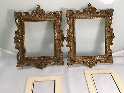 Pair Of  Antique French Gilt Metal  Ormolu Rococo Picture Frames With Mounts