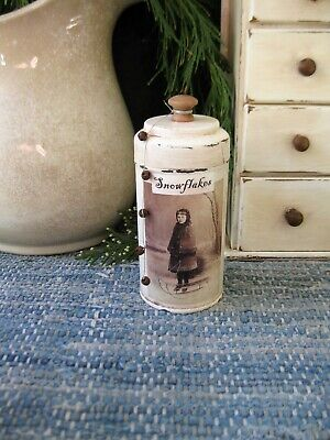 Early Antique Pantry Tin Old Christmas Photo Print Snowflakes  Free Shipping