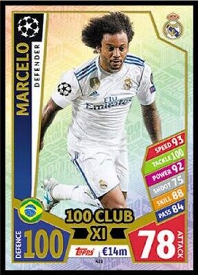 Match Attax Uefa Champions League 2017/18 Marcelo 100 Club No 421 Mint