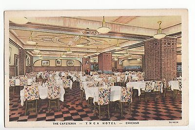 Vintage Linen Postcard - Chicago - The YMCA Hotel Cafeteria. Posted 1936