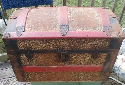 Antique 1800's Dome Top Steamer Trunk Wood Pressed Tin Embossed - Child's
