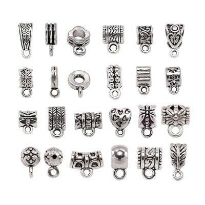 Pendant Clasp Clip Bail Beads 20Pcs Connector DIY Jewelry Necklace