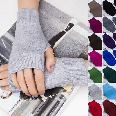 1 Pair Ladies Plain Cashmere Thermal Fingerless Knitted Winter Warm Half Gloves