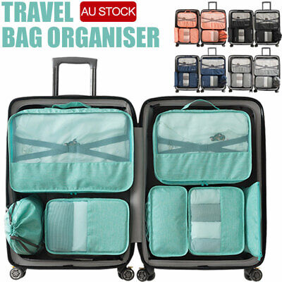 7PCS Travel Luggage Organiser Cube Clothes Storage Pouch Suitcase Packing Bags