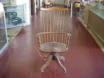 Rare Antique Wooden Swivel Office Desk Chair