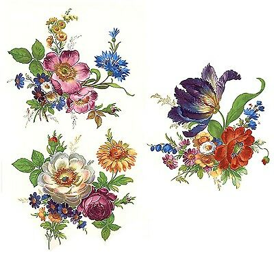 3 Meissen Wild Flower Bouquets Select-A-Size Waterslide Ceramic Decals  272 Bx