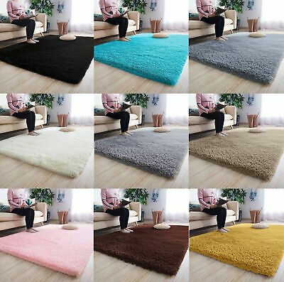 Fluffy Rugs Anti-Slip SHAGGY RUG Super Soft Carpet Mat Living Room Floor G7UK