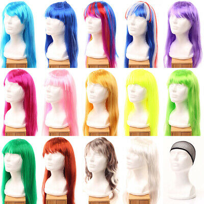 60-70cm Womens Long Hair Wig Dress Up Party Costume Cosplay Straight Wavy Style
