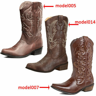 SheSole Women Cowboy Cowgirl Western Boots Mid Wide Calf PU Leather Brown Size