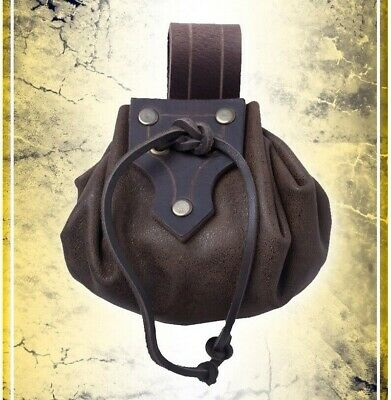 Vintage Medieval Classic Simple Leather Little Pouch Bag Belt Cosplay Props