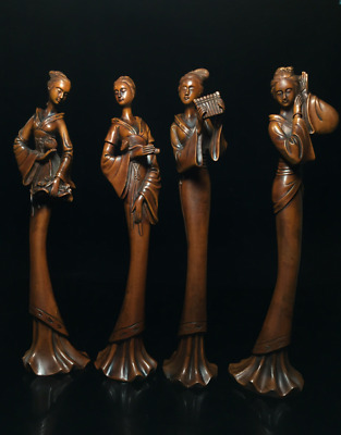 """11.81"""" A set Old Chinese Boxwood hand-carved four beautiful woman statue"""