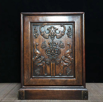 "11.41"" Old Chinese Huanghuali Wood Dynasty Palace Bat Jewelry cabinet Boxe"
