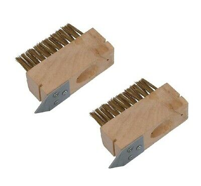 2 x Replacement Head For Patio And Block Paving Weed Wire Brush With Scraper