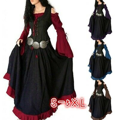 Vintage Women Gothic Medieval Dress Collect Waist  Robe Lace Up Front Maxi Dress