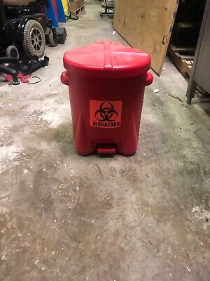 Eagle Biohazard Waste Can Trash Garbage Step On Red 14 Gallon