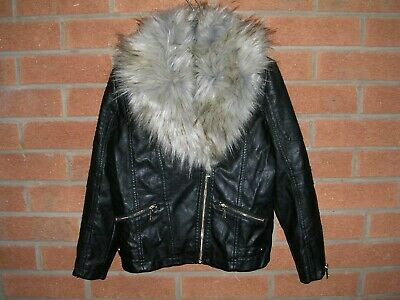RIVER ISLAND Girls Black Faux Leather Fur Collar Biker Jacket Coat Age 9 134cm