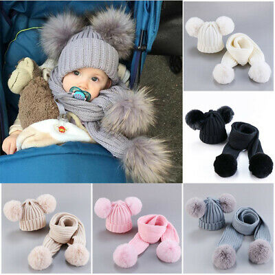 Babys Boys Girls Double Pom Hat Faux Fur Scarves Set Winter Warm Beanie Cap XMAS