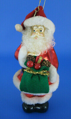 Santa Claus Large Glass Ornament Thomas Pacconi Plush Fur Trim 2003 Collection