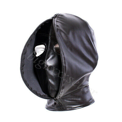 Leather Covered-Open Face Hood Mask Restraints Head Harness Bandage Zip Closed